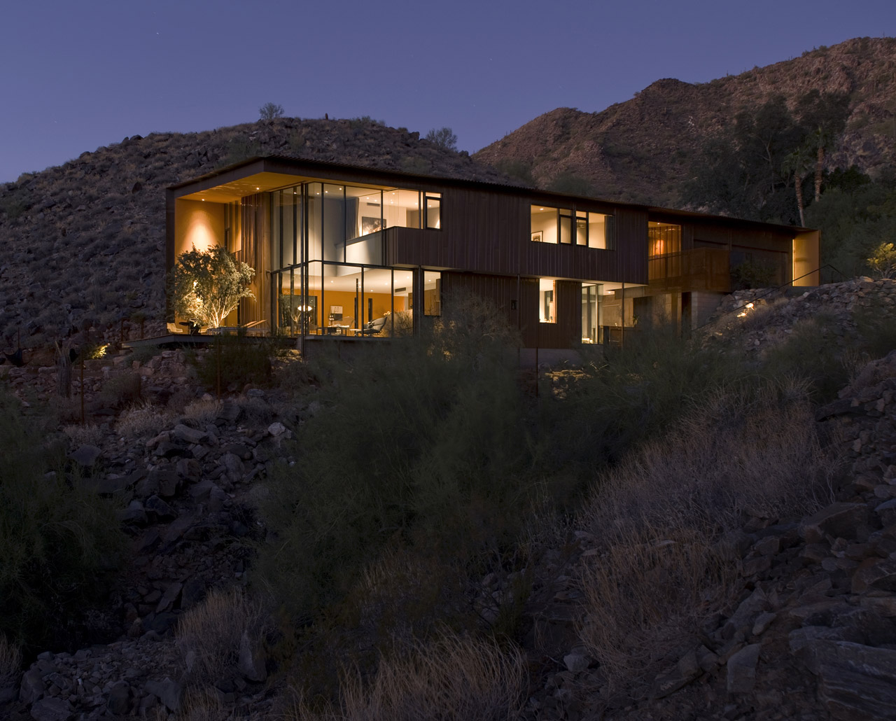 Evening, Lighting, Jarson Residence in Paradise Valley, Arizona