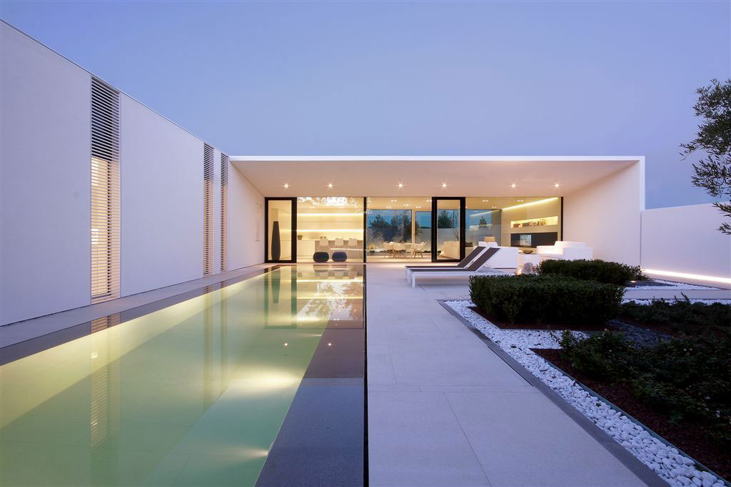 Evening, Pool Lighting, Contemporary Villa in Jesolo Lido, Venice, Italy