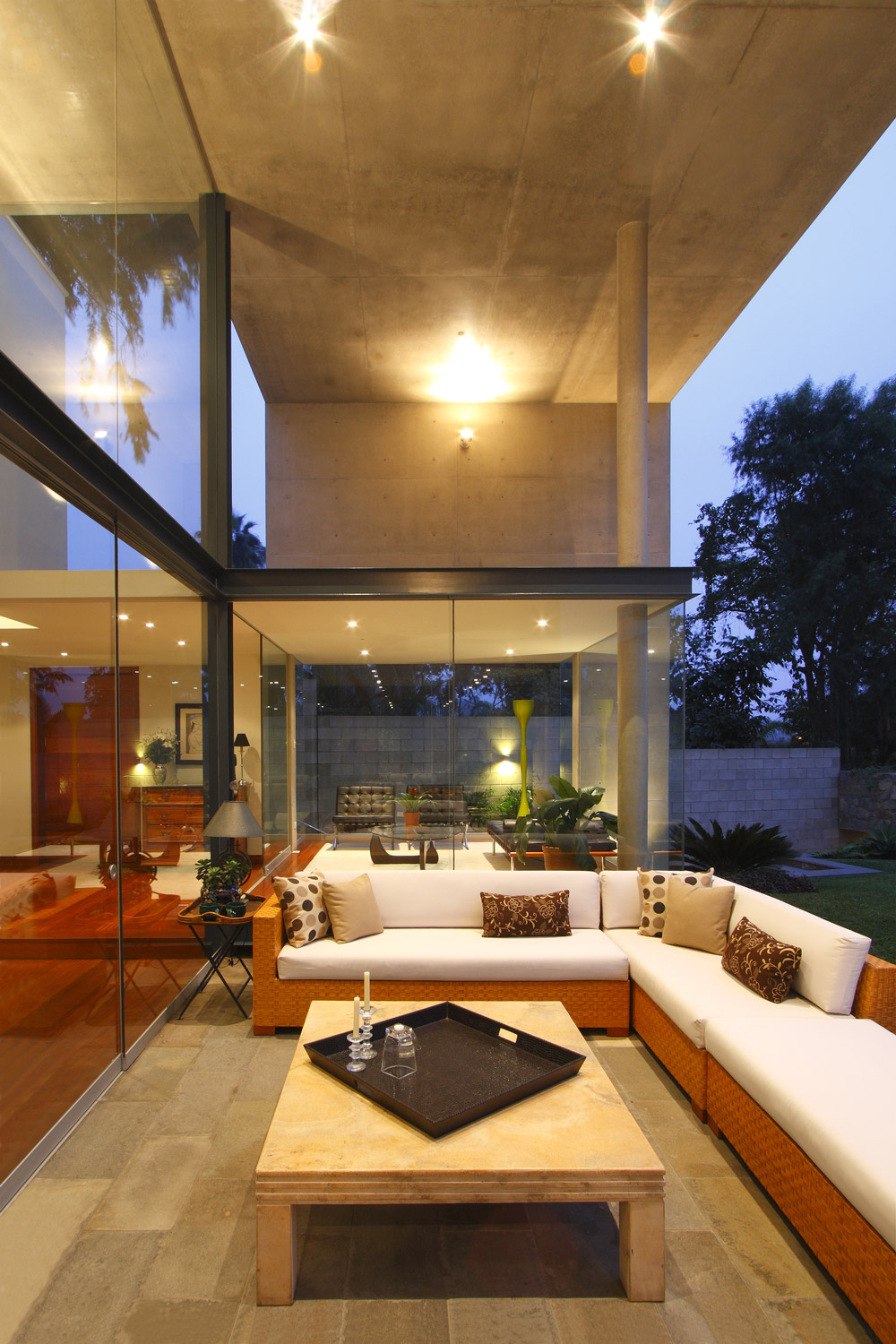 Evening, Lighting, Terrace, Family Home in Lima, Peru