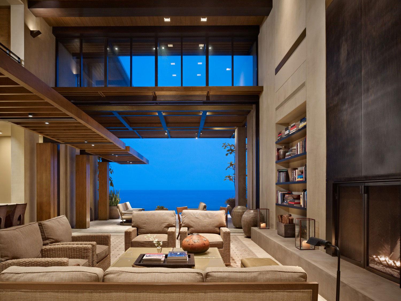 Fireplace, Bookshelf, Sofas, Views, Beachfront Home in Cabo San Lucas, Mexico