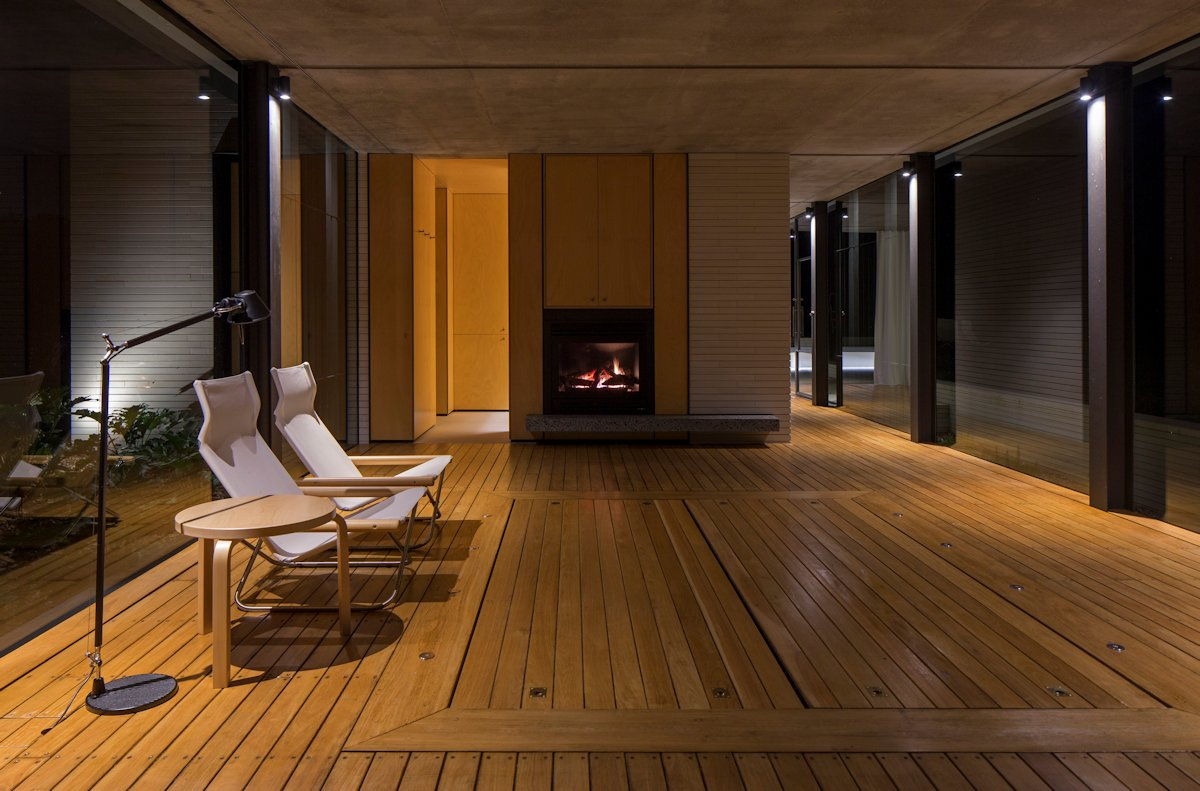 Fireplace, Glass Walls, Wood Flooring, Glass Pavilion in Somersby, Australia
