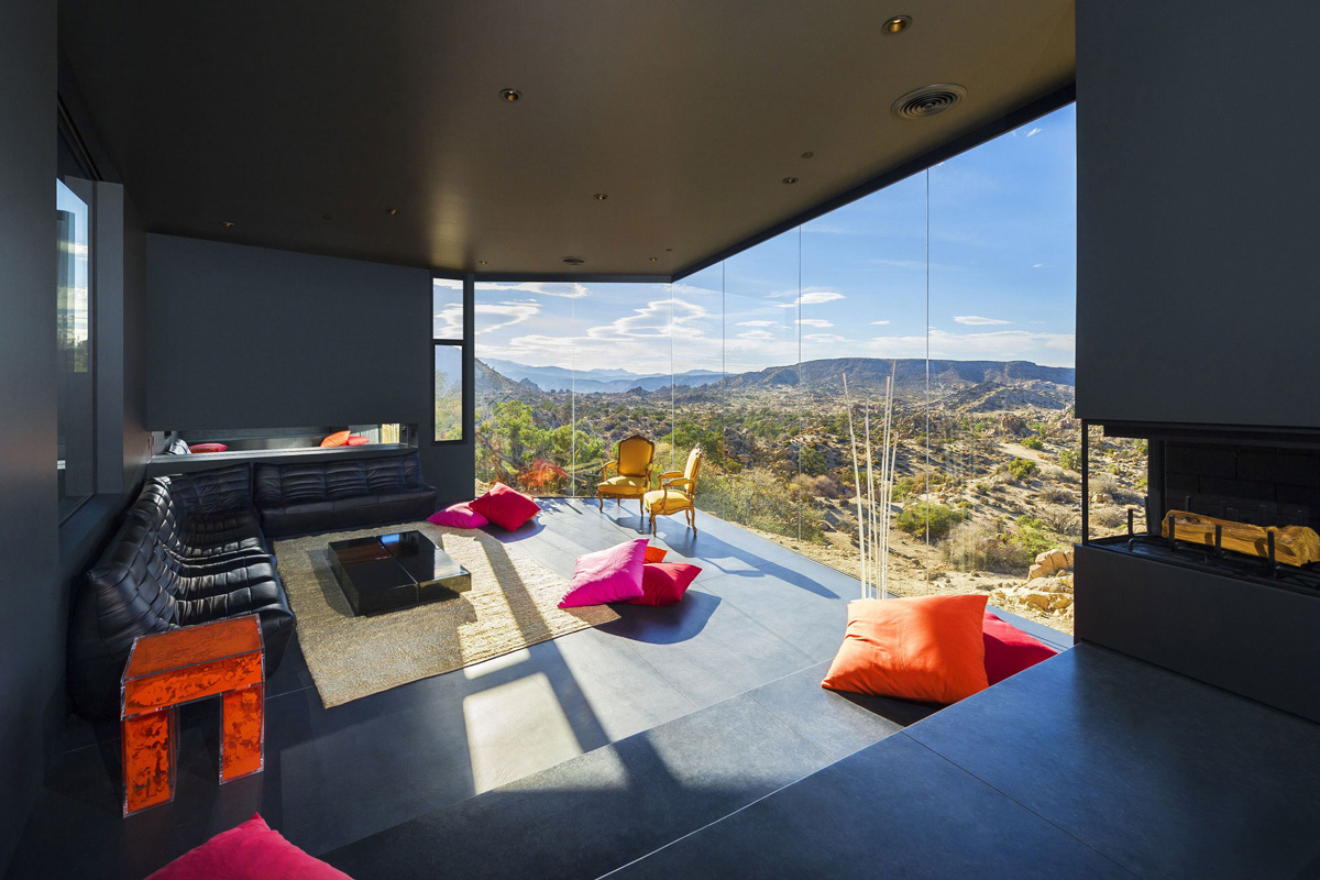 Fireplace, Living Room, Floor-to-Ceiling Windows, Mountain Home in Twentynine Palms, California