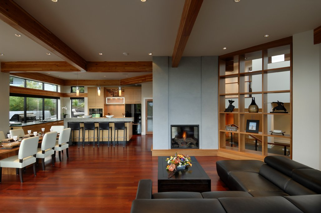 Fireplace open plan living dining kitchen modern home for Modern house open floor plans