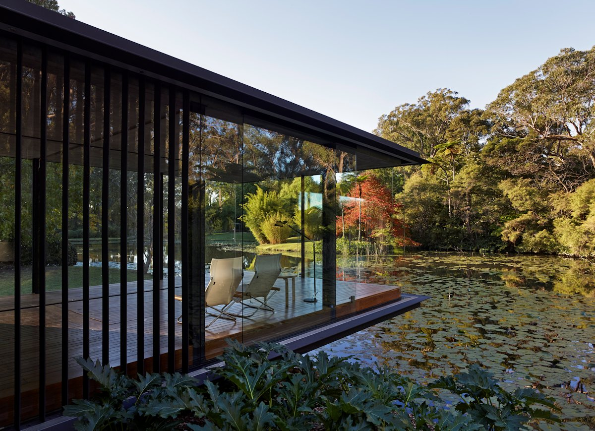 Floor-to-Ceiling Windows, Living Space, Cantilevered Glass Pavilion in Somersby, Australia