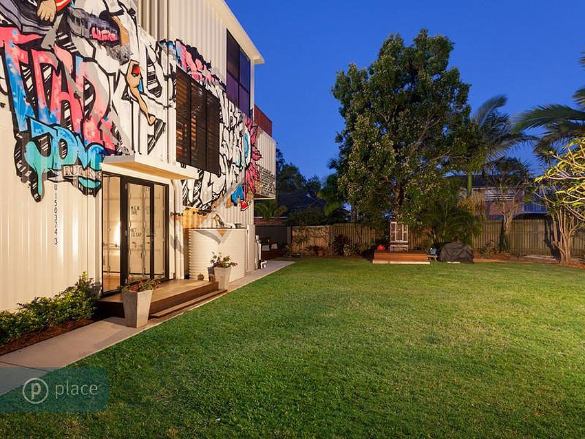 Garden, Graffiti, Shipping Container Home in Brisbane, Queensland