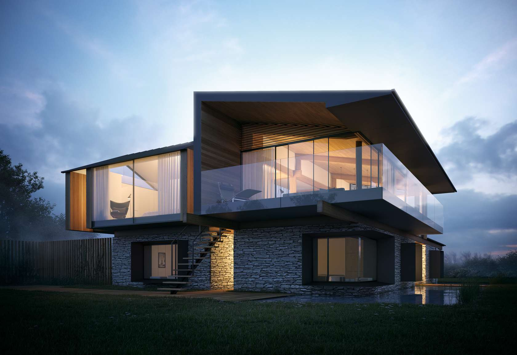 Glass Balustrading, Evening Lighting, Home on the Gower Peninsula in South Wales