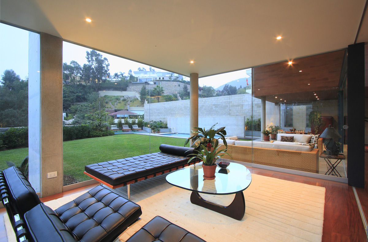 Glass Coffee Table, Floor-to-Ceiling Windows, Family Home in Lima, Peru