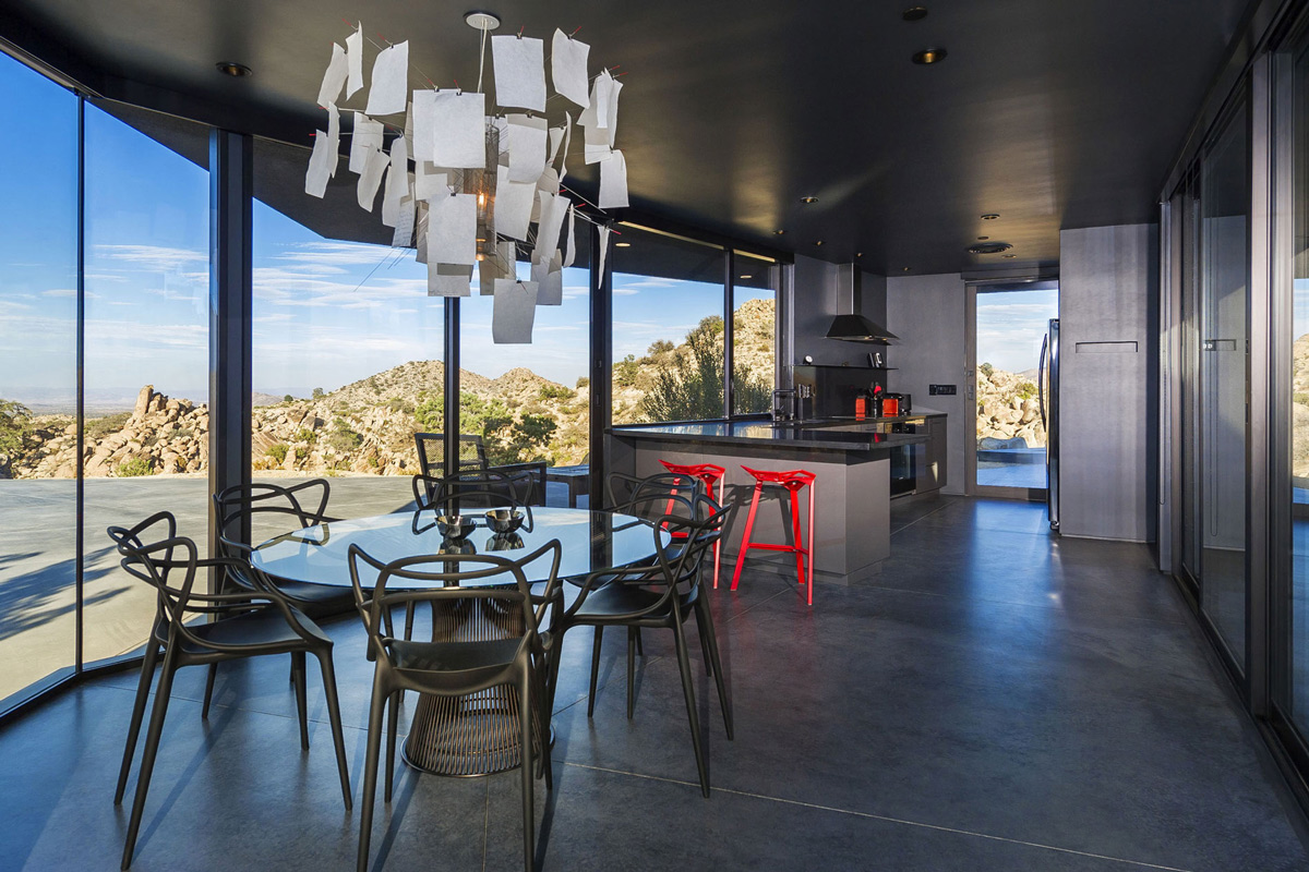 Glass Dining Table, Lighting, Kitchen, Open Plan, Mountain Home in Twentynine Palms, California