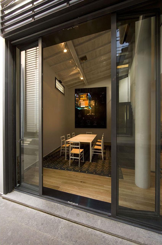 Glass Doors, Dining Table, Lighting, Art, Stylish Apartment in Trastevere, Rome