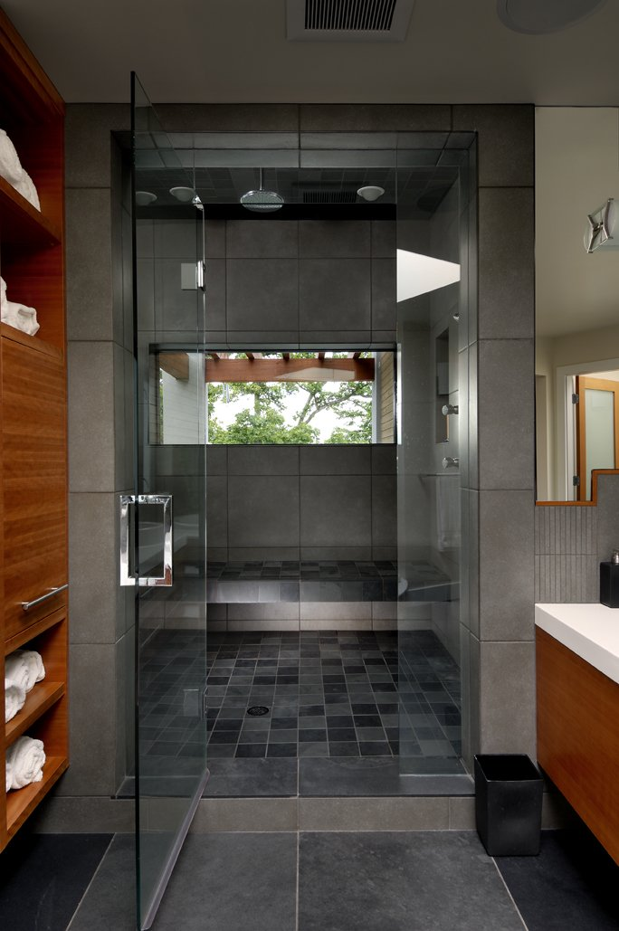 Glass Doors, Shower Room, Modern Home in Victoria, British Columbia