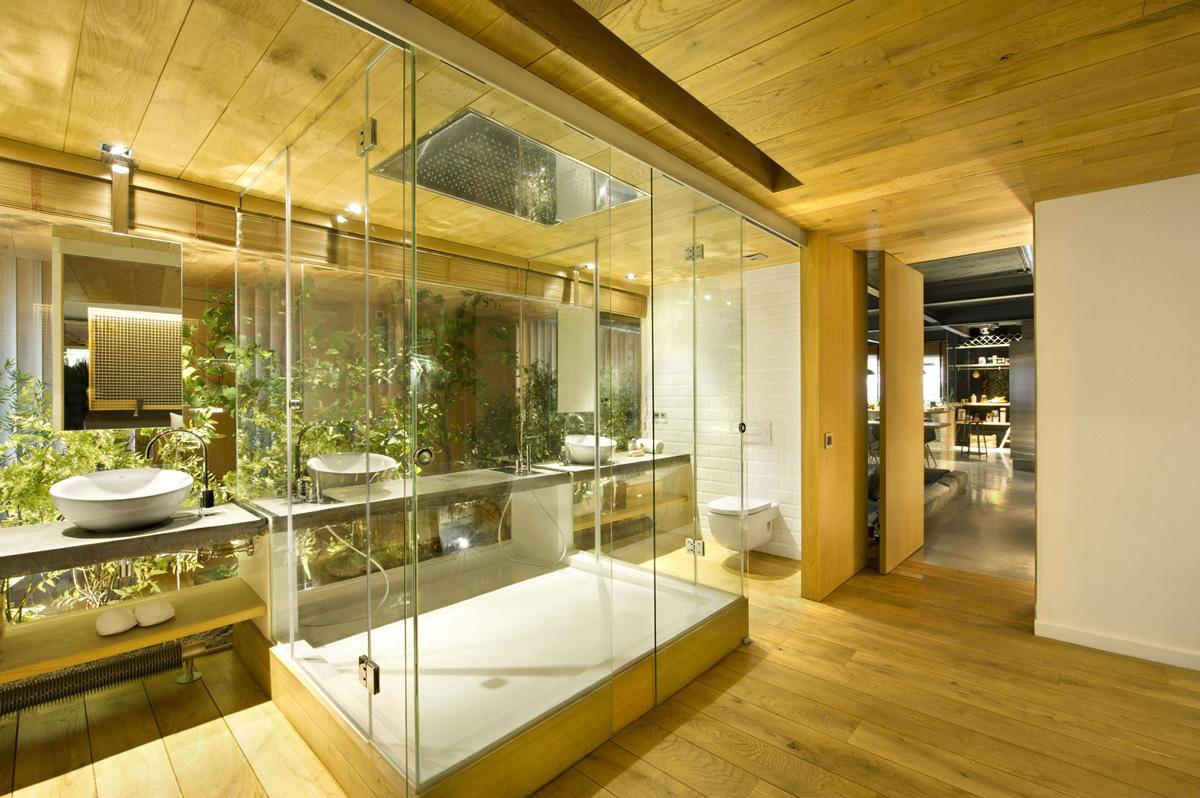 Glass Shower, Sinks, Loft Style Home in Terrassa, Spain