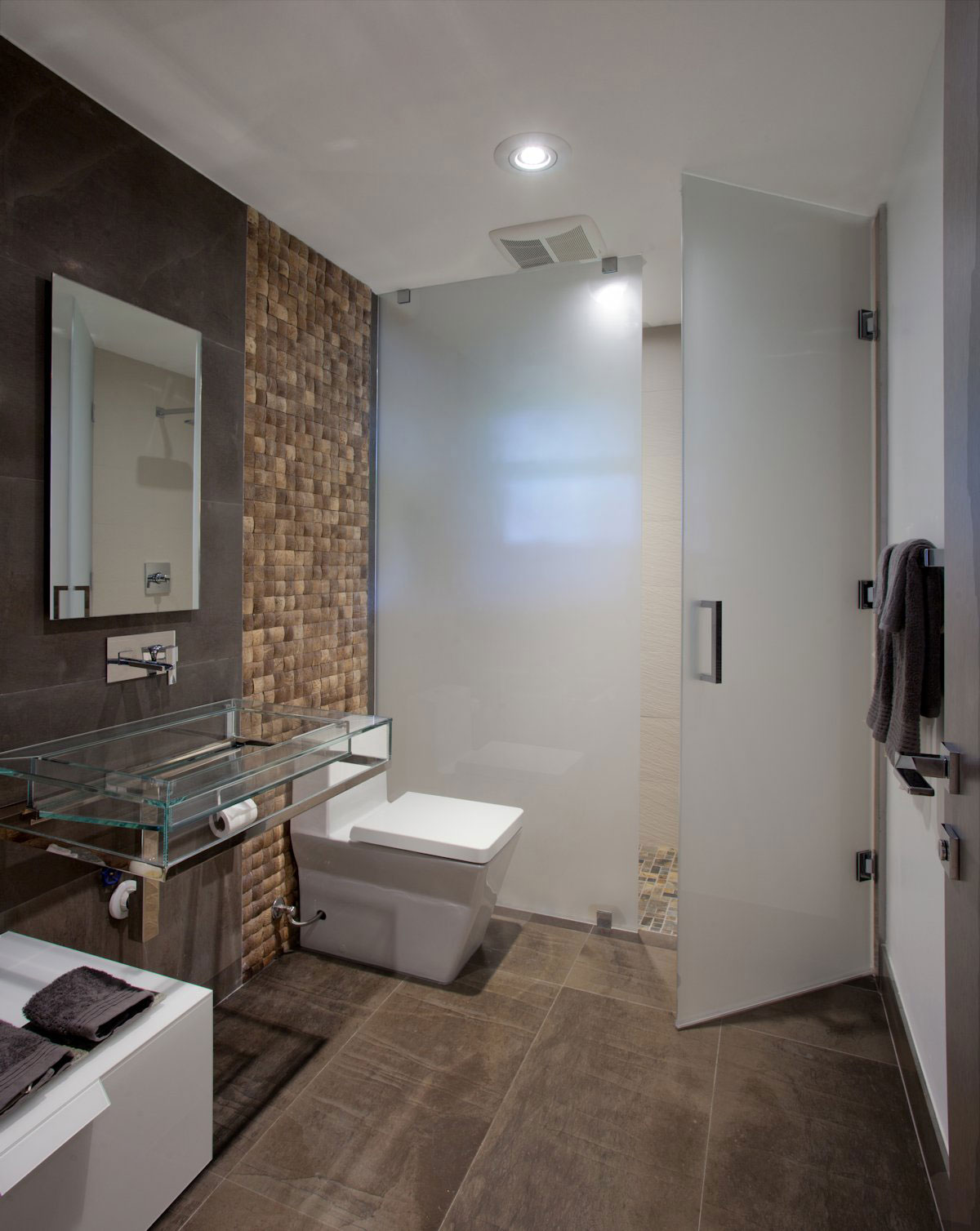 Glass Sink, Smoked Glass Shower Screen & Door, Modern Retreat in Davie, Florida