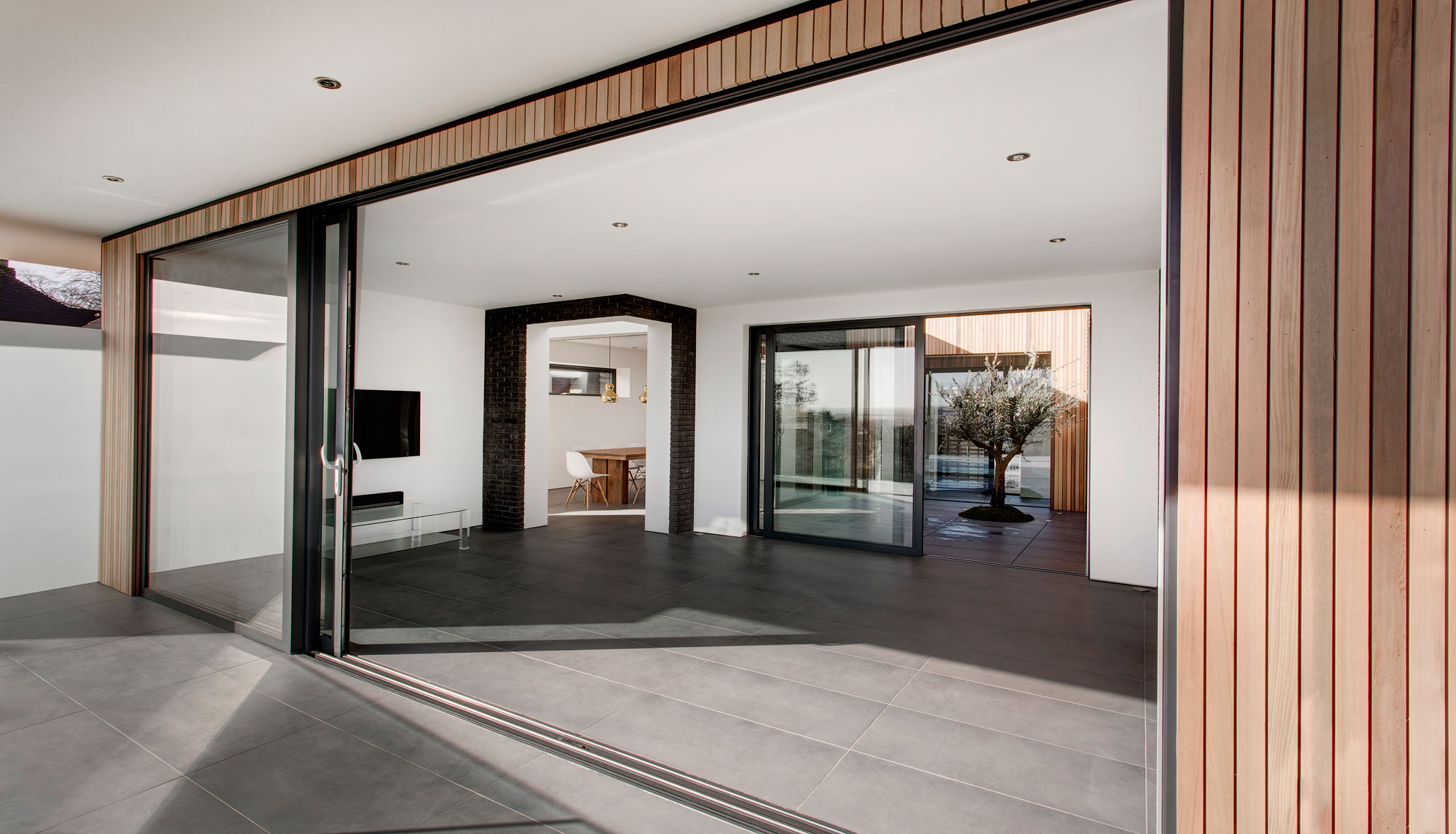 Glass Sliding Doors, Balcony, Living Space, Modern Home in Hampshire, England