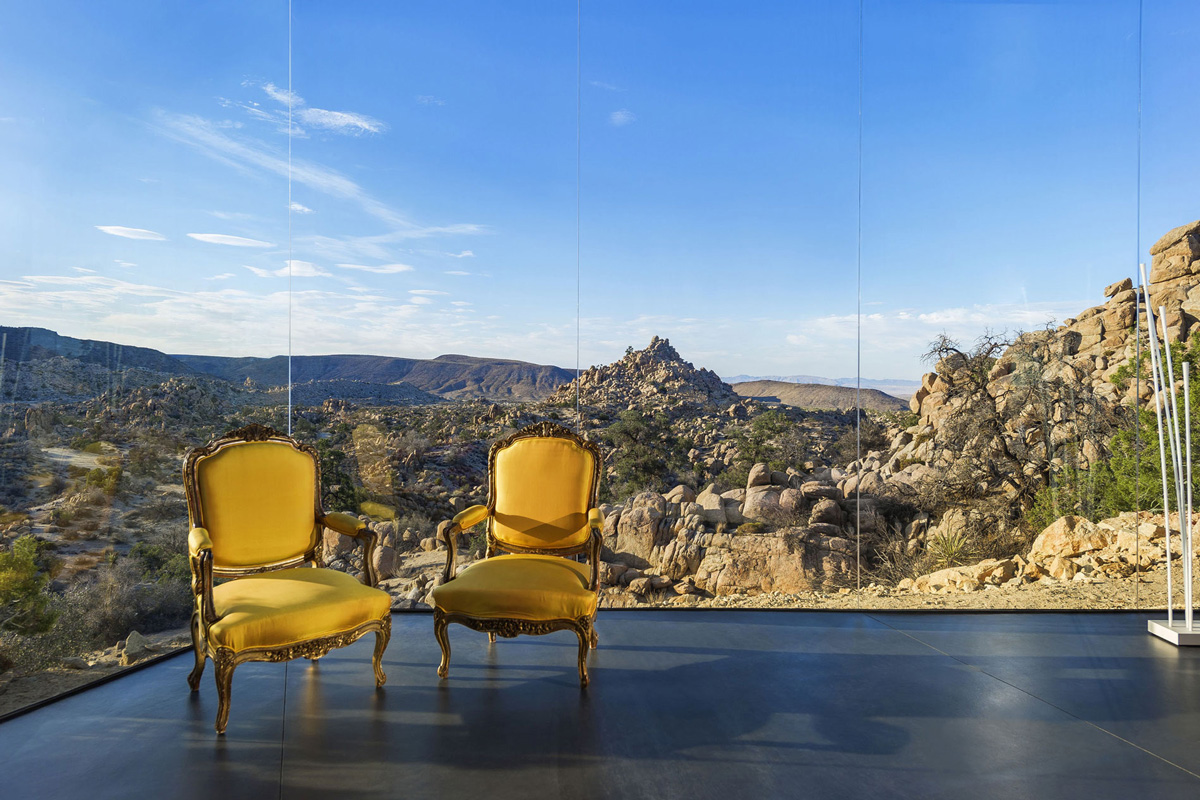Glass Walls, Living Room, View, Mountain Home in Twentynine Palms, California