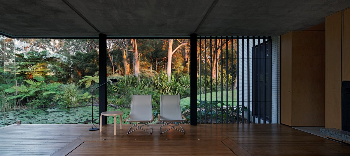 Glass Walls, Wood Floor, Glass Pavilion in Somersby, Australia