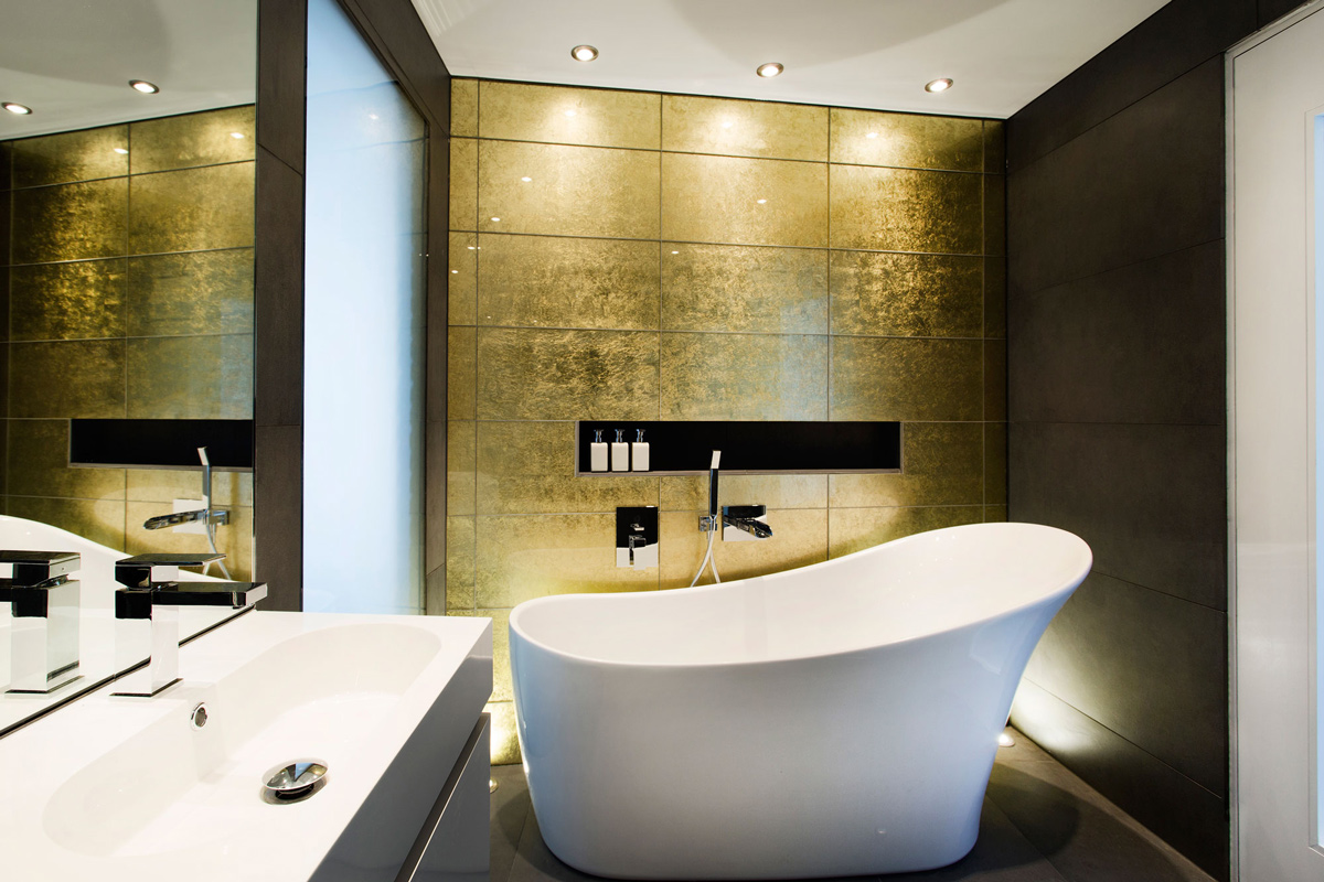 Gold Wall, Bathroom, Bath, Sink, Mirror, Modern Home in Hampshire, England