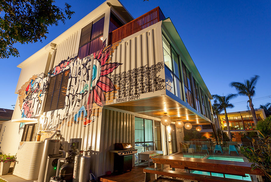 Graffiti, Terrace, Outdoor Living, Pool, Shipping Container Home in Brisbane, Queensland