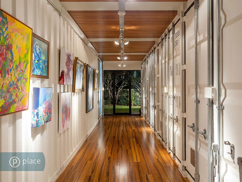Hall, Lighting, Art, Shipping Container Home in Brisbane, Queensland