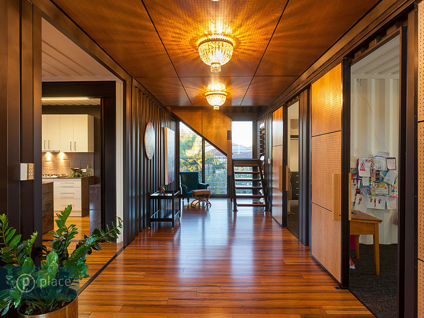 Hallway, Shipping Container Home in Brisbane, Queensland