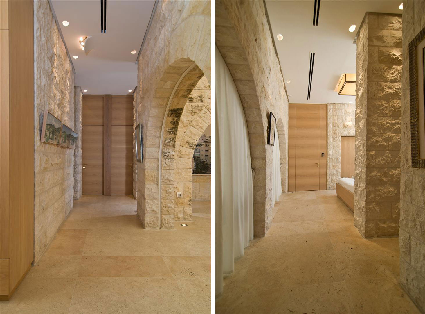 Hallway, Contemporary Stone House in Jerusalem, Israel