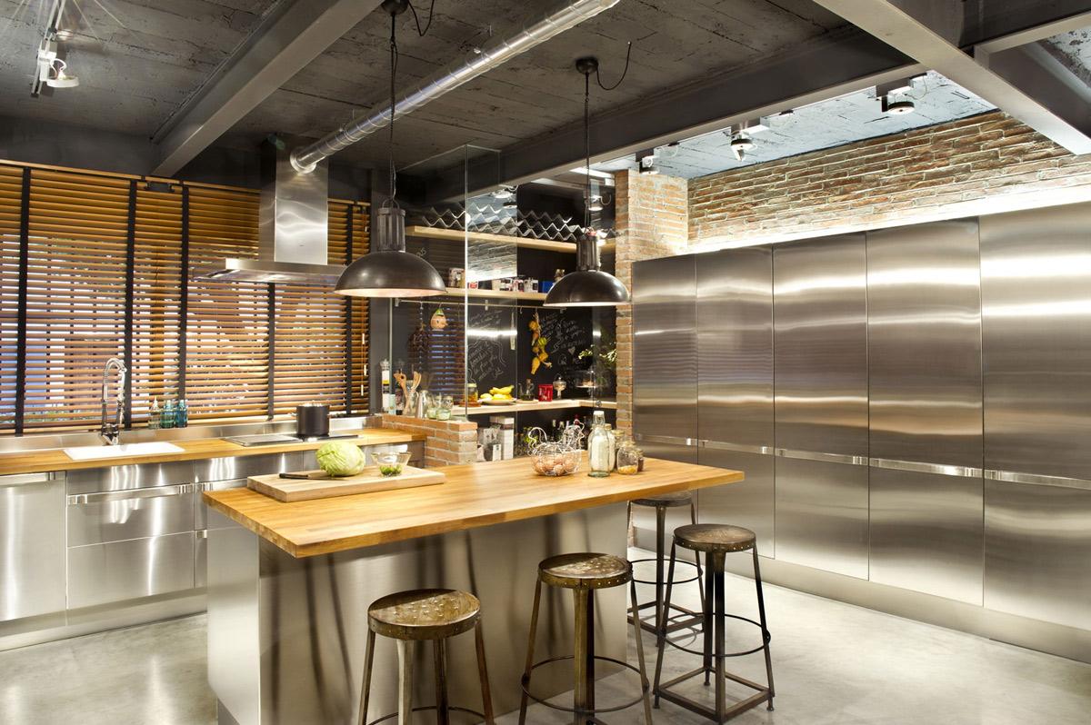 Kitchen, Breakfast Bar, Island, Stainless Steel Units, Loft Style Home in Terrassa, Spain