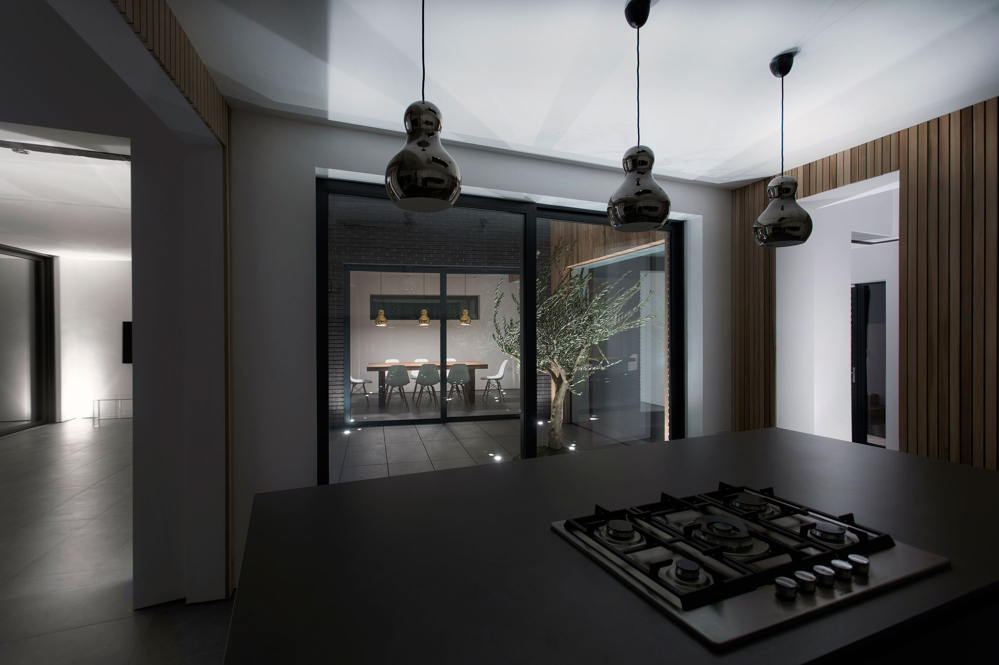 Kitchen, Courtyard & Dining Room Views, Modern Home in Hampshire, England