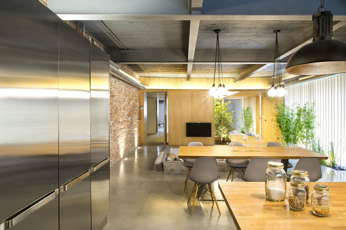 Kitchen, Dining, Living Space, Loft Style Home in Terrassa, Spain