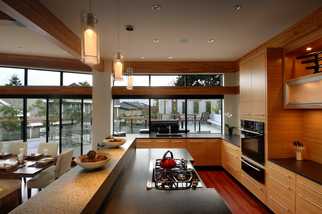 Kitchen, Floor-to-Ceiling Windows, Modern Home in Victoria, British Columbia