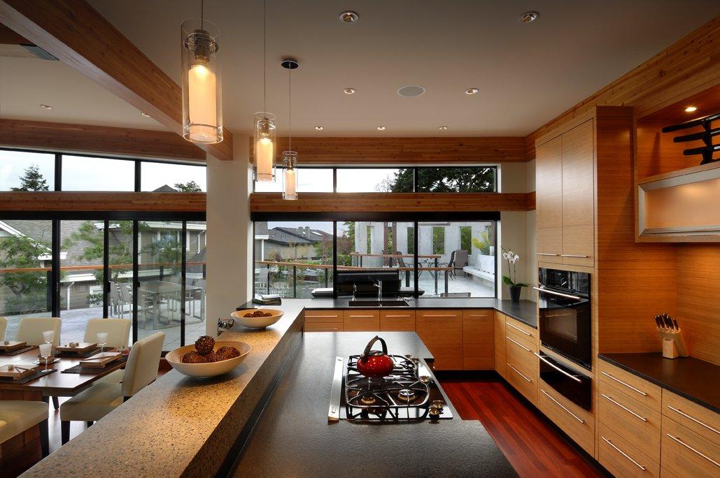 kitchen floor to ceiling windows modern home in victoria