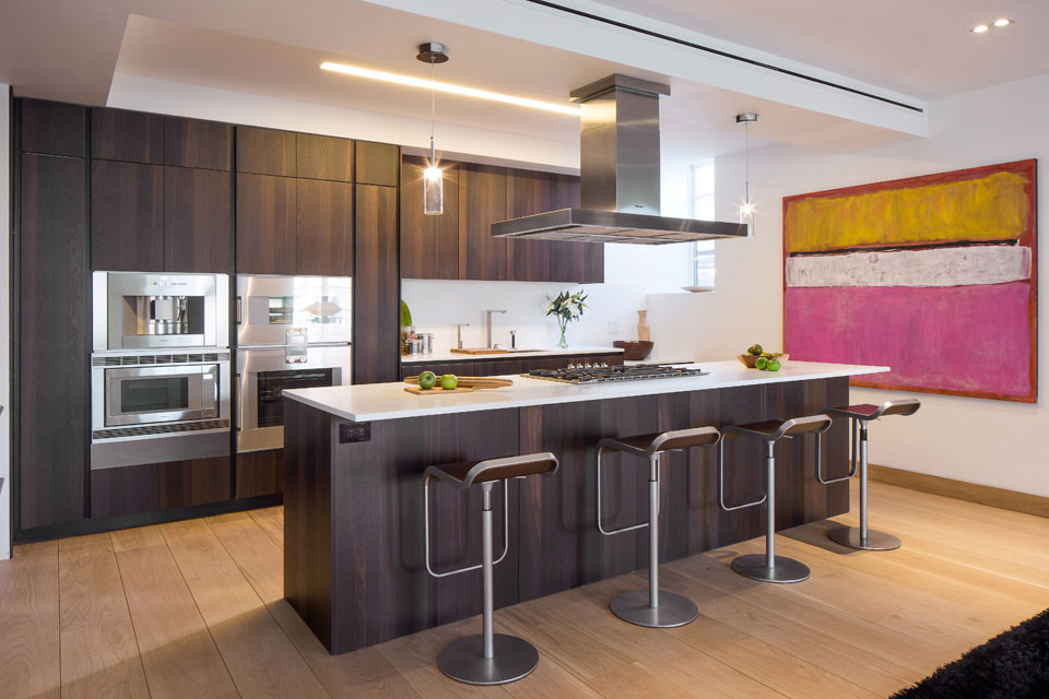 Kitchen Island, Breakfast Bar, Art, Penthouse Apartment in TriBeCa, New York City