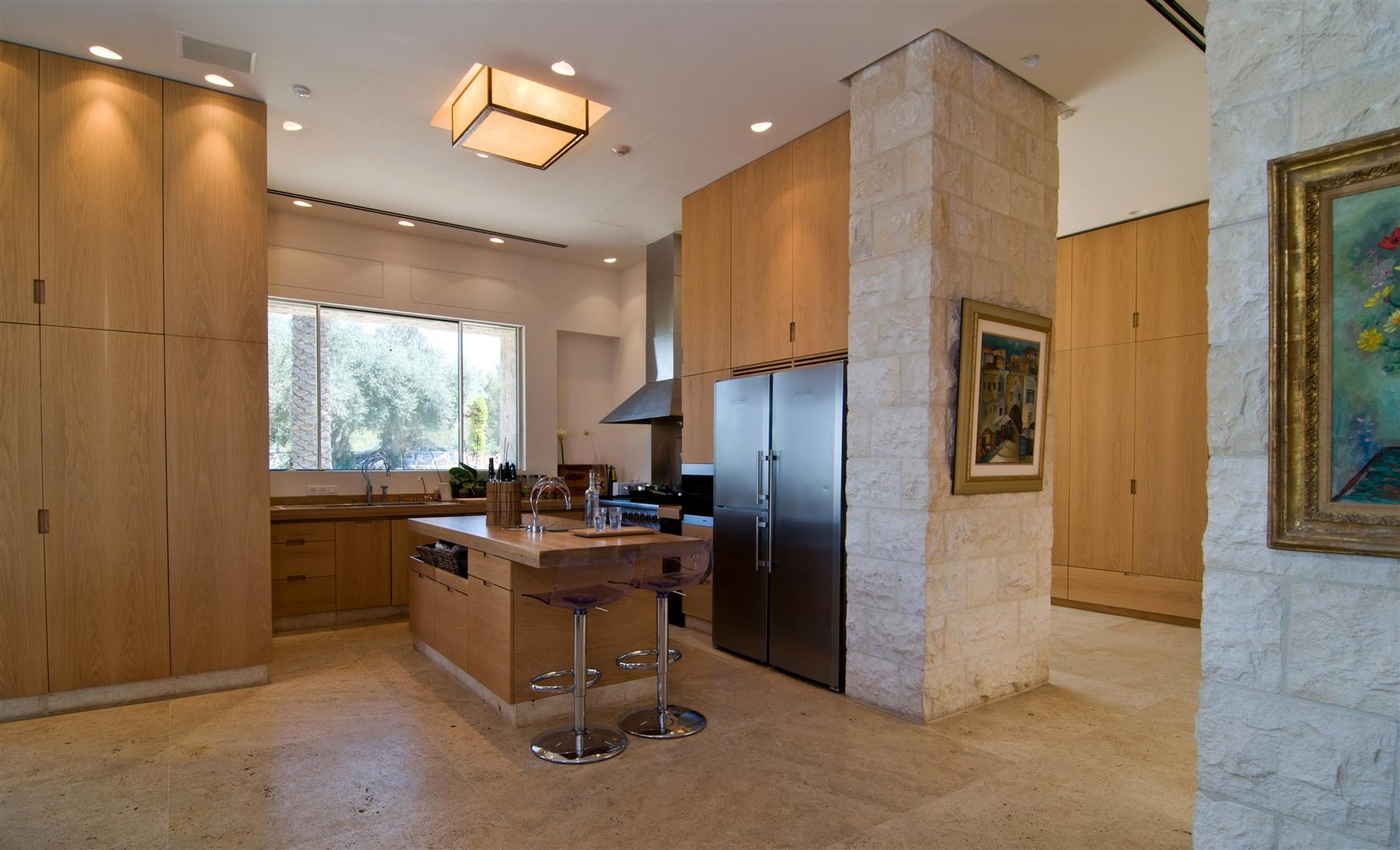 Kitchen Island, Breakfast Bar, Contemporary Stone House in Jerusalem, Israel