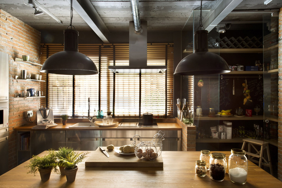 Kitchen Island, Loft Style Home in Terrassa, Spain