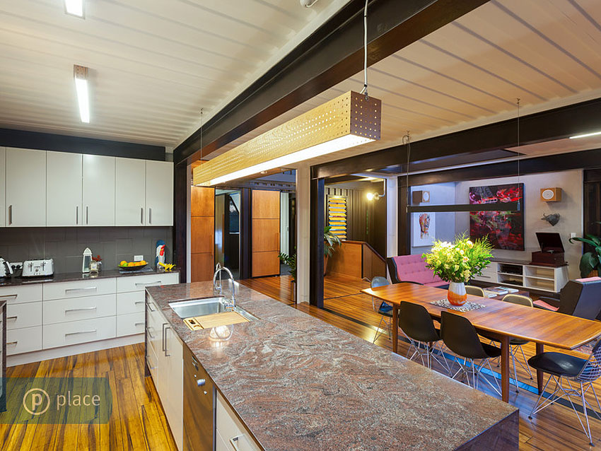 Kitchen Island, Marble Counter, Shipping Container Home in Brisbane, Queensland
