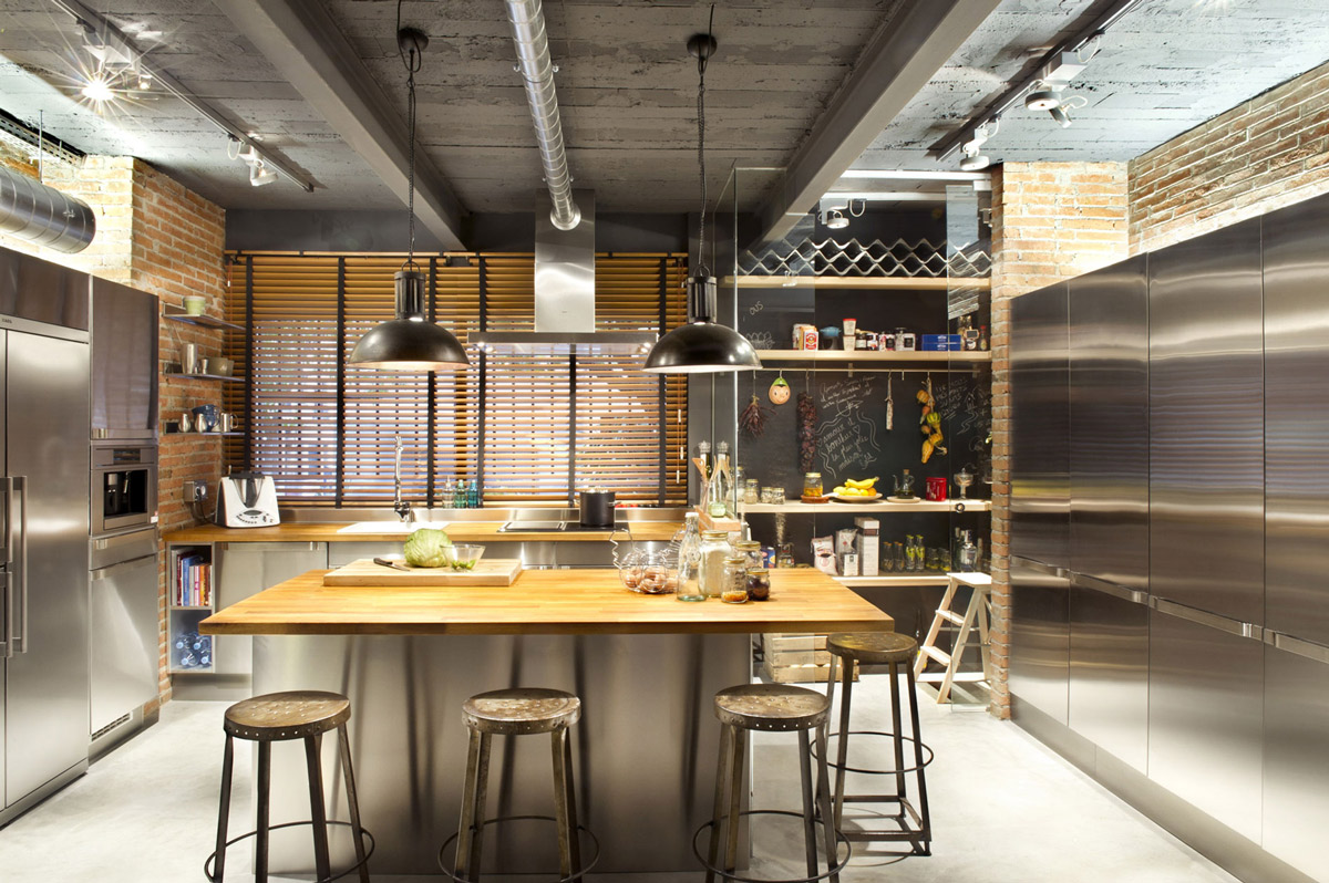 Kitchen, Pendant Lighting, Loft Style Home in Terrassa, Spain