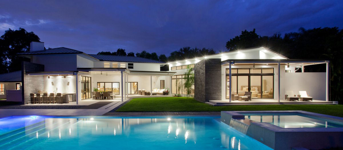 Lighting, Evening, Pool Lighting, Modern Retreat in Davie, Florida