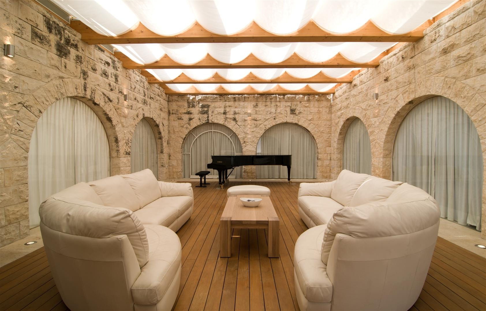 Living Room, Piano, Sofas, Coffee Table, Contemporary Stone House in Jerusalem, Israel