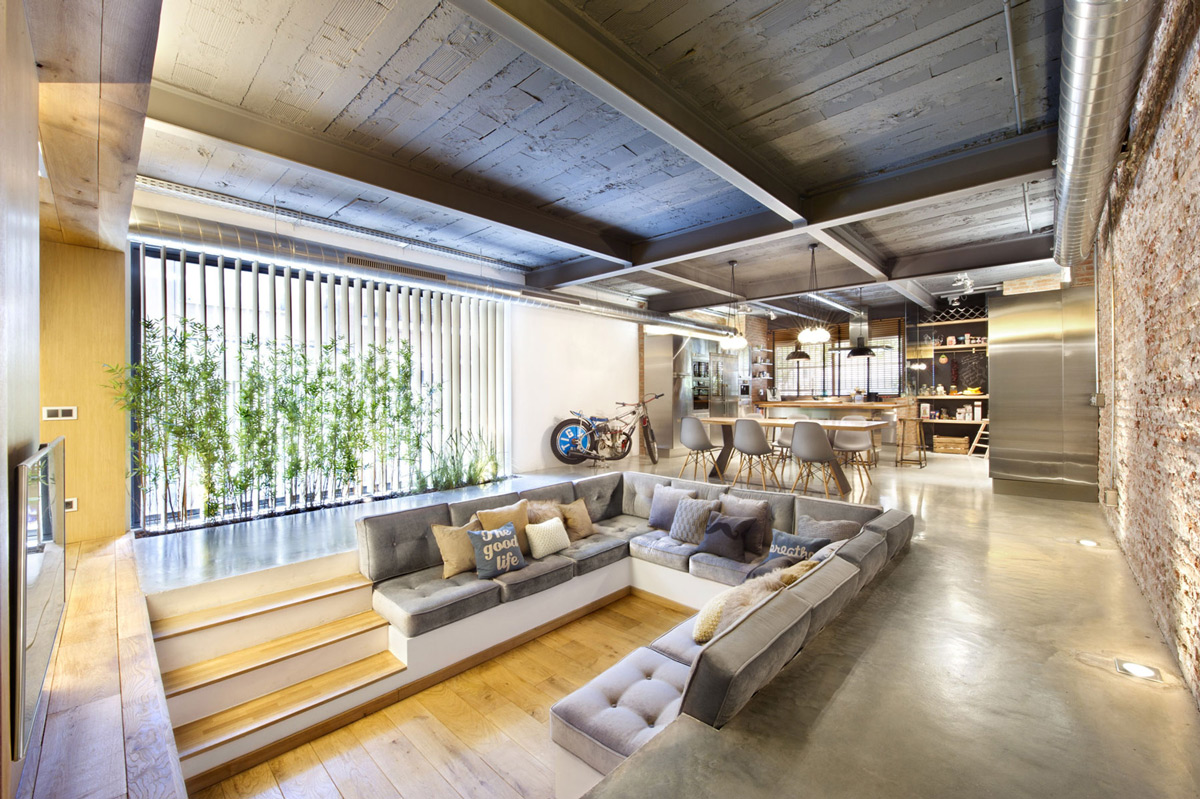Living Room, Sunken Sofa, Open Plan, Loft Style Home in Terrassa, Spain