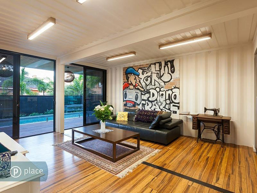 Living Space, Graffiti, Shipping Container Home in Brisbane, Queensland