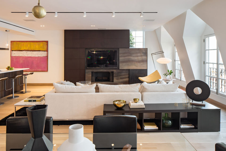 Living Space, Open Plan Kitchen, Dining and Living Space, Penthouse Apartment in TriBeCa, New York City