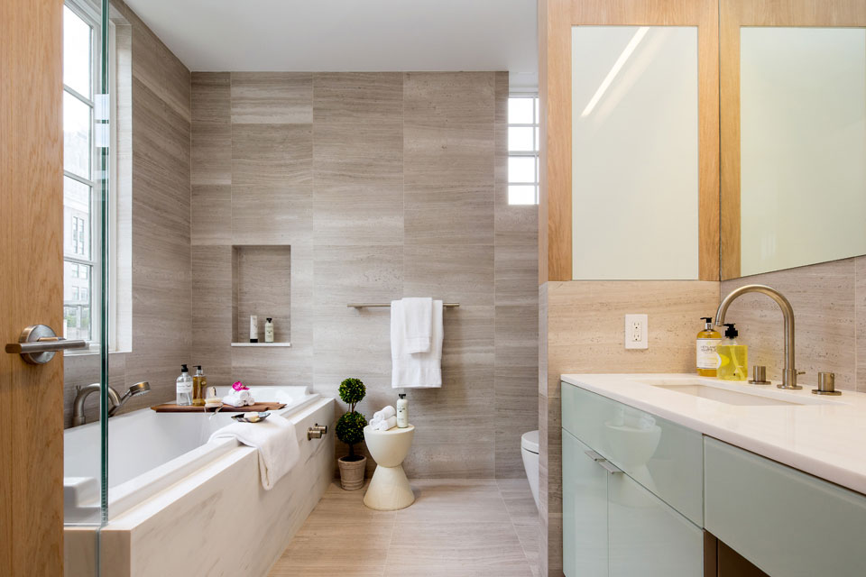 Marble Tiles Bathroom Penthouse Apartment In Tribeca New York City
