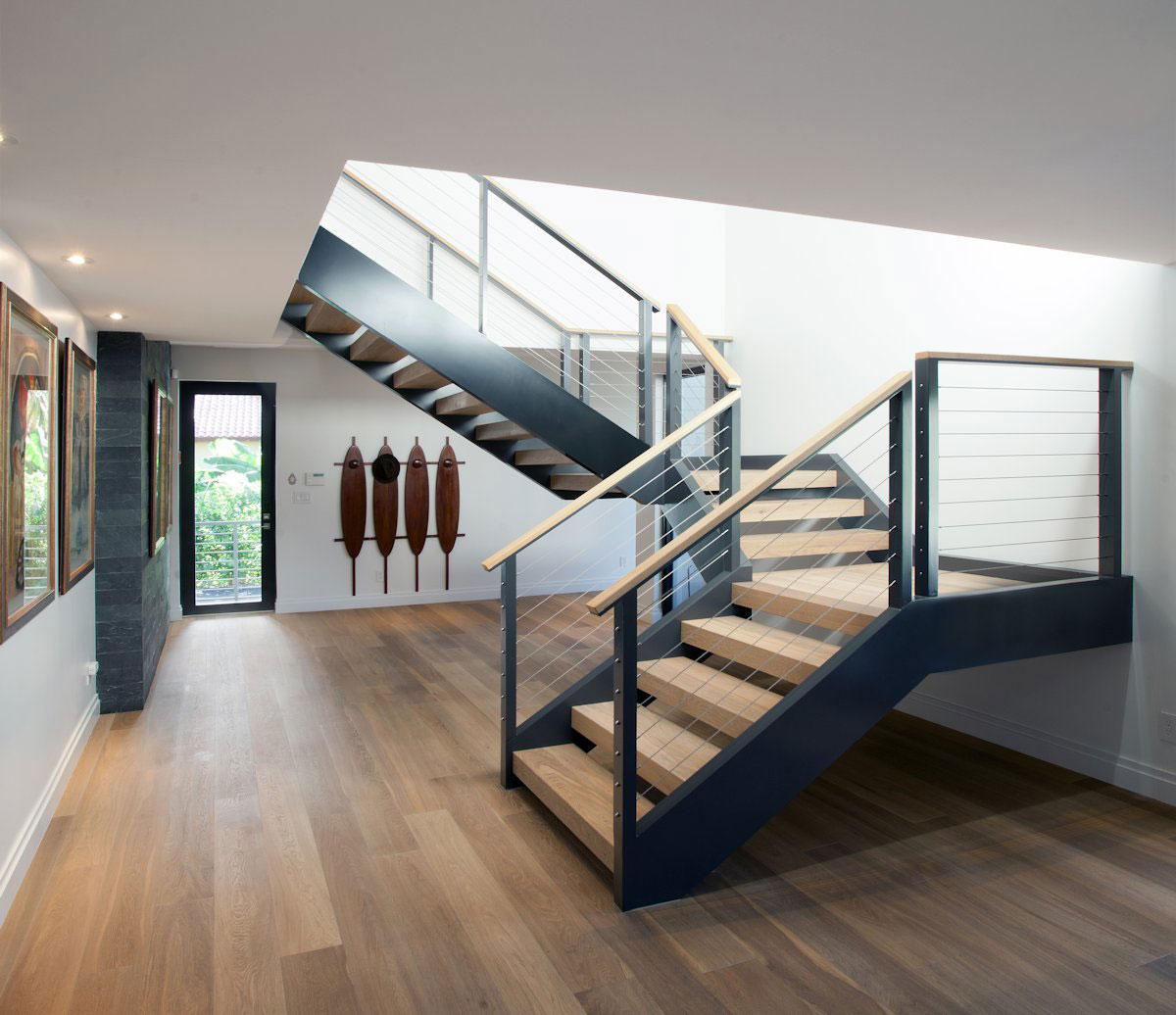 Metal Amp Wood Stairs Modern Retreat In Davie Florida