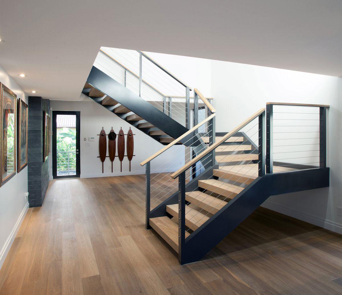Metal & Wood Stairs, Modern Retreat in Davie, Florida