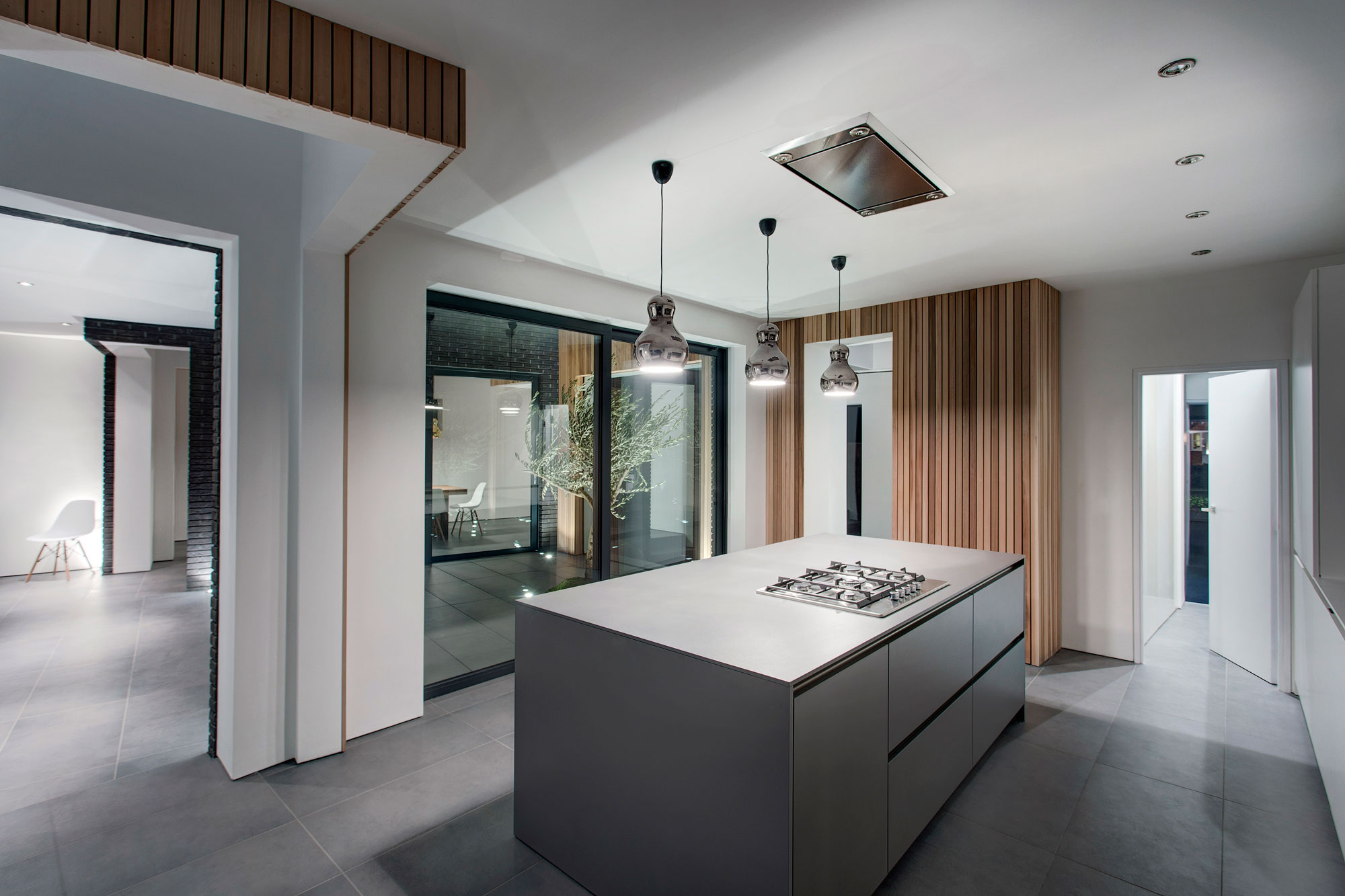 Modern Kitchen, Island, Pendant Lights, Modern Home in Hampshire, England
