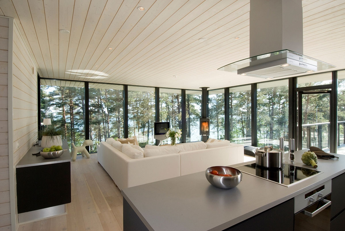 Open Plan Kitchen, Living Space, Vacation Home in Merimasku, Finland