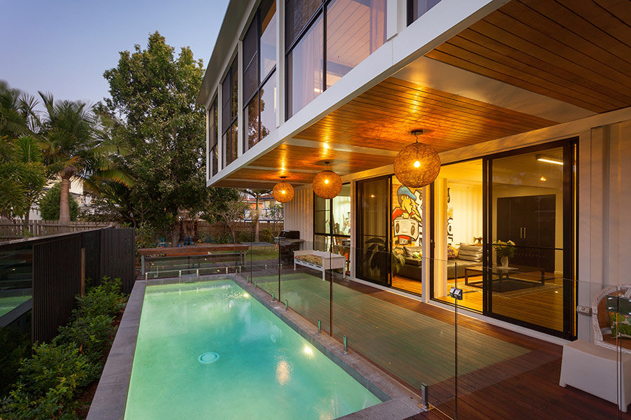 Outdoor Pool, Glass Balustrading, Lighting, Shipping Container Home in Brisbane, Queensland