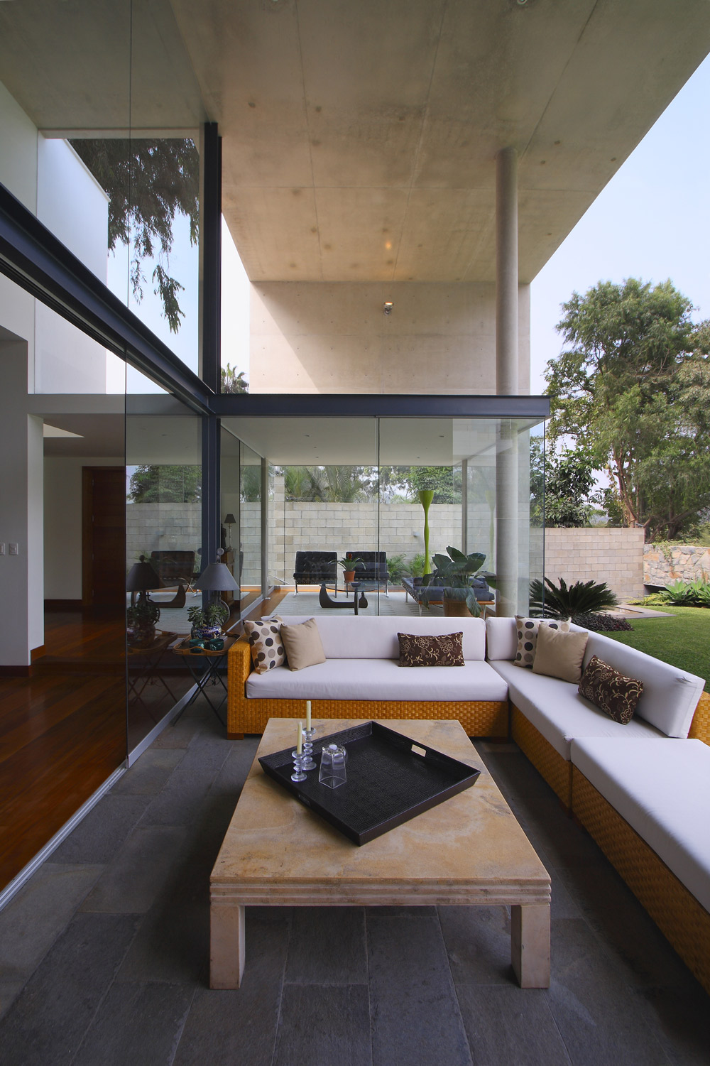 Outdoor Table, Sofa, Terrace, Family Home in Lima, Peru