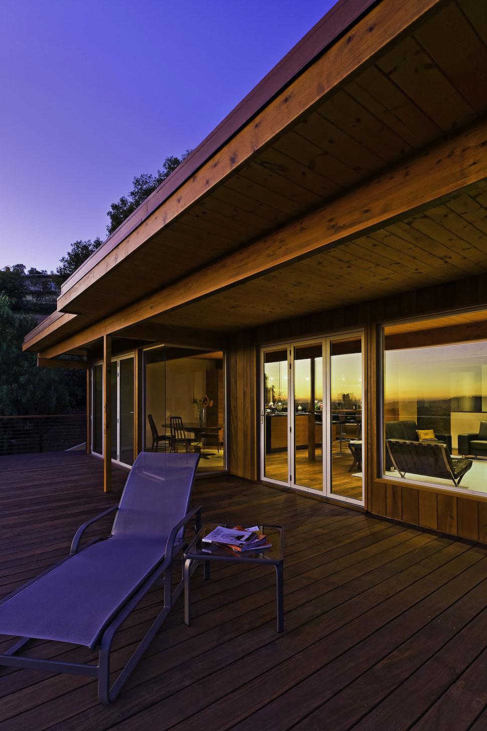 Patio Doors, Wooden Balcony, Mid-Century Modern Home in Santa Barbara, California