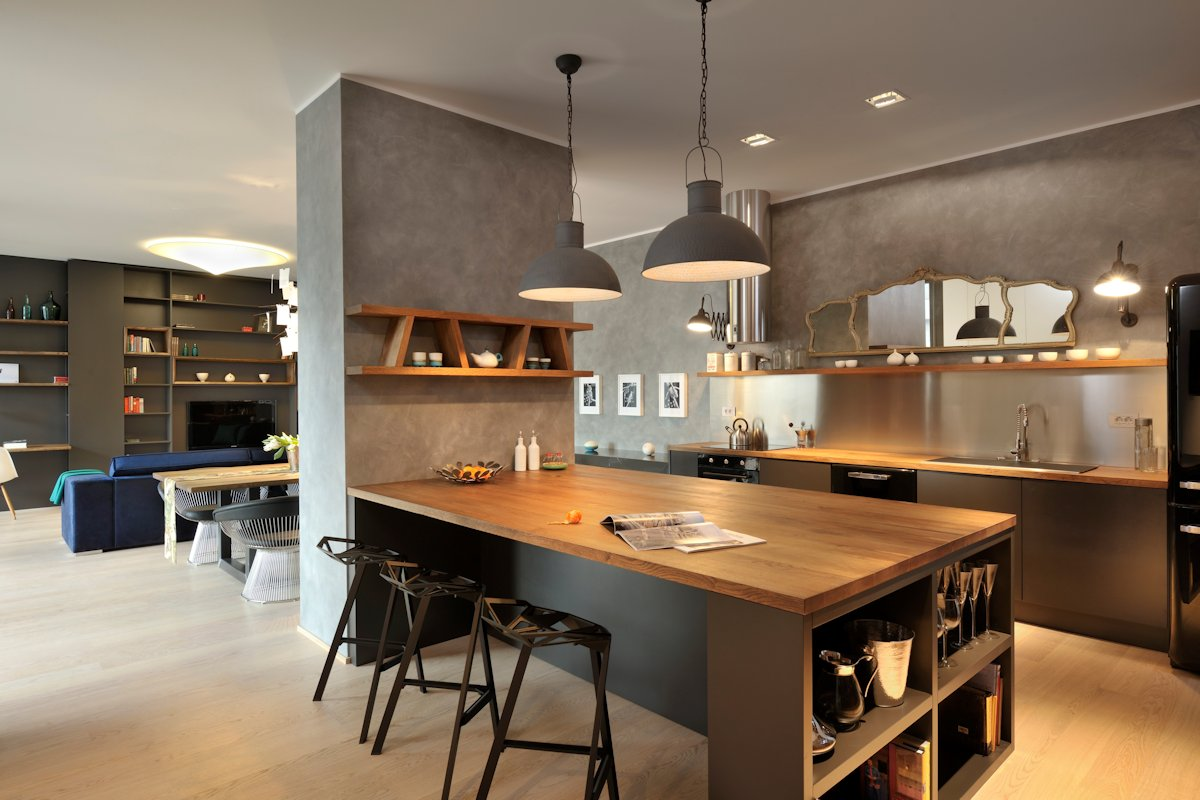 Pendant, Lighting, Kitchen Island, Breakfast Bar, Apartment in Ljubljana, the Capital of Slovenia
