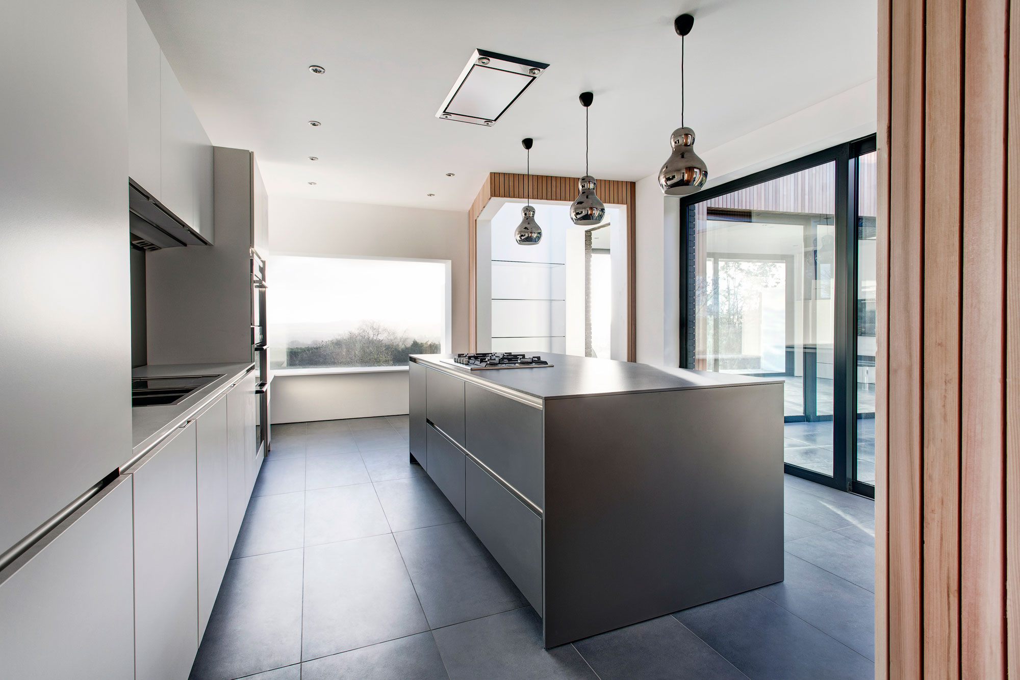 Pendant Lighting, Grey Kitchen Island, Modern Home in Hampshire, England