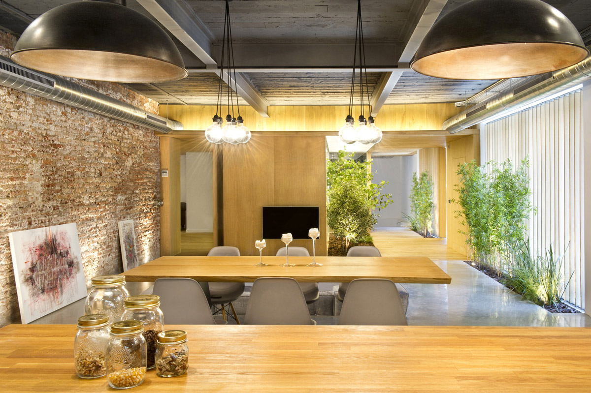 Pendant Lights, Open Plan Living Space, Loft Style Home in Terrassa, Spain